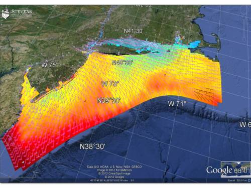 NYHOPS 3D model domain showing simulated SST, surface currents, and wind barbs. From the Google Earth viewer of the NYHOPS operational forecasts www.stevens.edu/NYHOPS