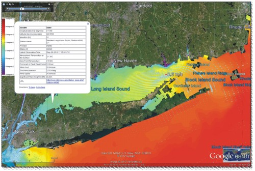 Figure 2. A zoom of the NYHOPS domain that covers the Long Island Sound. Shown is simulated SST (colored background and legend on the upper left), a popup with data from a UCONN buoy used in the NYHOPS model, and instantaneous surface current vectors also from the NYHOPS model. Screenshot taken from the NYHOPS google earth viewer 9/26/2012 1900Z.