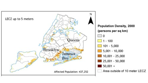 Figure 1:  NYC map showing population and density in low-elevation coastal zones (LECZ) below 5 m above mean sea level (Columbia CIESIN; http://sedac.ciesin.columbia.edu/gpw/ lecz.jsp). Hurricane Sandy's flooding was extensive in neighborhoods surrounding Jamaica Bay.