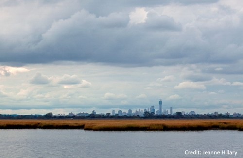 View of New York City's skyline, over Jamaica Bay wetlands (credit: Jeanne Hillary)